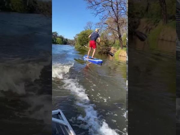 Boat Wake Rocks Paddle Board Rider ViralHog