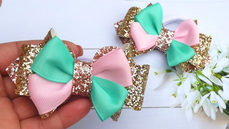 Бантики по шаблону с кожи и репсовых лент мк Bows on the pattern with leather and rep ribbons