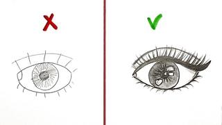 Как нарисовать Глаз | Правильно и неправильно | Рисунки Юльки карандашом