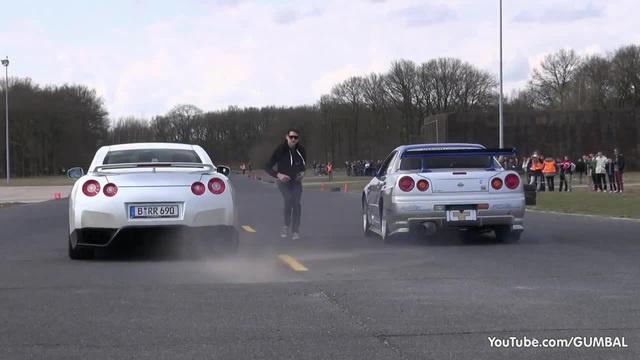 Nissan Skyline GT R34 Mines Stage 2 vs Nissan GT R Switzer P800