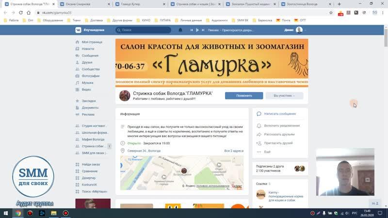 Аудит группы Зоосалон Гламурка г Вологда