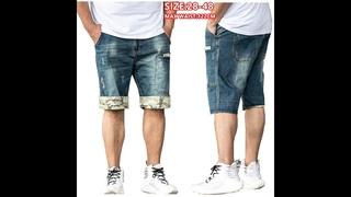 Мужские джинсовые шорты до колен, прямые летние шорты карго размера плюс 42 44 46 48