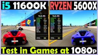 Core i5 11600K vs Ryzen 5 5600X | RTX 3060 Ti |  Test in Games at 1080p - Tech MK