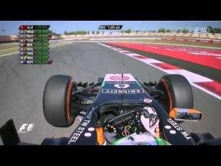 Formula 1 Spain GP FP1 - Sergio Perez losses a mirror (lost mirror)