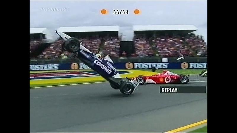 Ralf Schumacher goes flying Chaos at the start 2002 Australian GP DigitalF1 German 720p 50fps