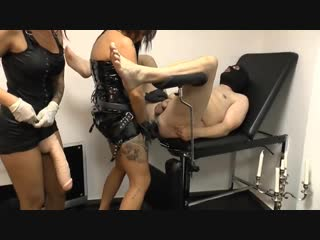 Lady xenia and friend punish slave with a huge strap-on [fisting strapon domina femdom mistress goddess]