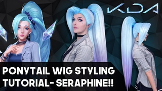 KDA Seraphine Cosplay Wig Styling! Pulled back ponytail Tutorial