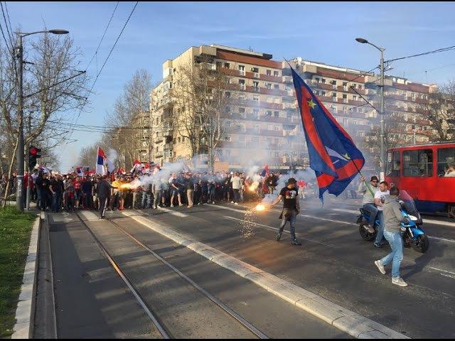 Crvena zvezda vs. Spartak Moscow including corteo to Marakana (Delije and Fratria - Srbija i Rusija)