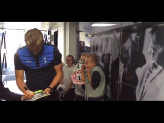 Two young Spurs fans have an amazing reaction after meeting Harry Kane