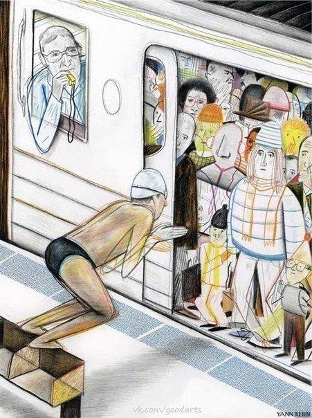 утро в метро демотиватор высокий статус неизбежно