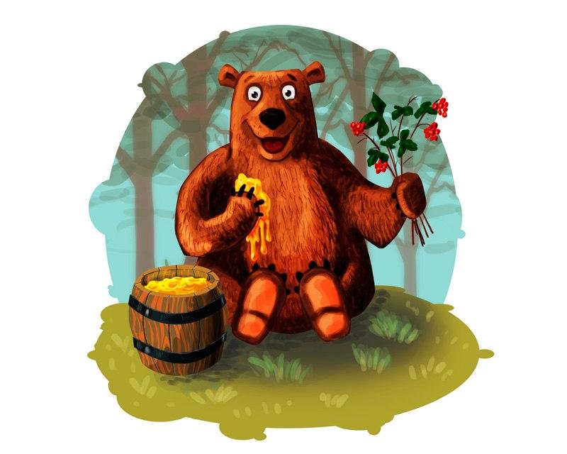 Картинки медвежонок ест мед