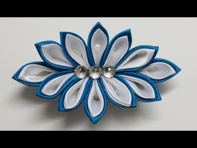How to make kanzashi flower hairclip kanzashi tutorial diy flores de cinta