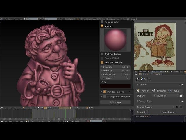 Blender sculpting. The hobbit's sculpting / Скульптинг в Blender. Скульптинг хоббита.