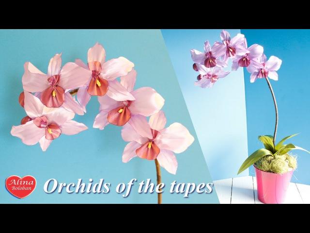 Орхидея из Ленты Подарочный горшочек Orchids of the tapes tutoria gift pot