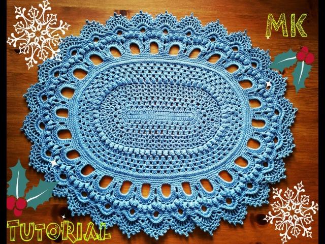 Овальный ковер из шнура 3 ряд Oval crochet rug for beginners row 3