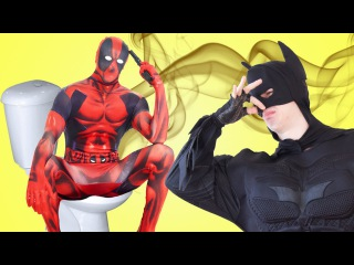 Superheroes in Real Life! Batman & Frozen Elsa & Maleficent vs Deadpool w/ Spiderman Make Up Prank