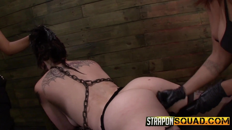Barbarian girl gets punished by two strap on HD 1080, BDSM, group