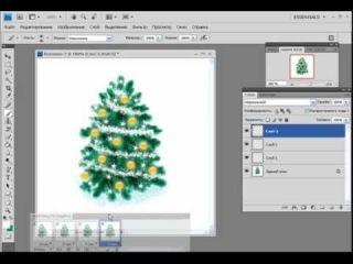 Рисование в программе PhotoShop Новогодняя Елка.mp4