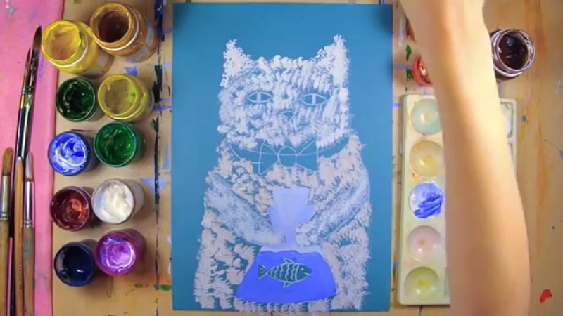 Кот Васька и Золотая рыбка урок рисования для детей 4 12 лет Как нарисовать к