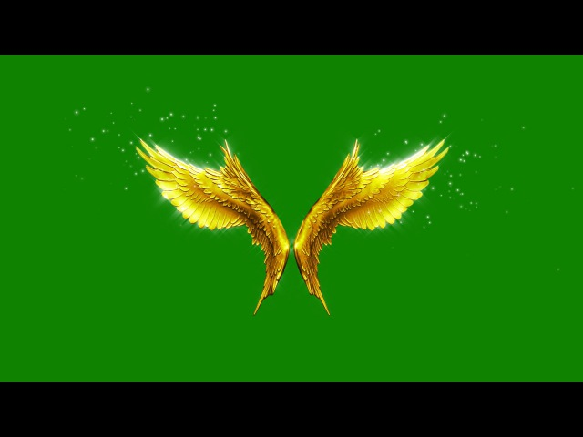 Green Screen Angels Flapping Gold Wings Particles - Footage PixelBoom