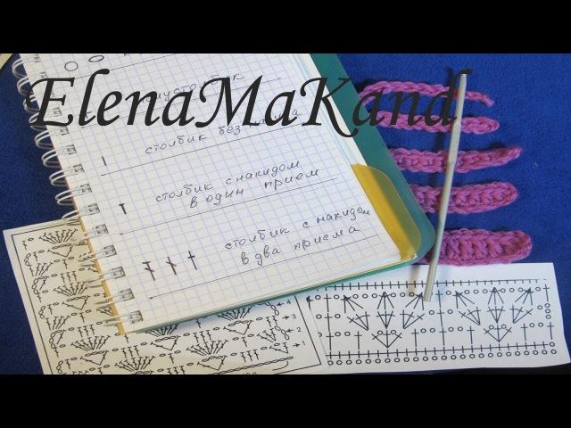 Как читать схемы вязания крючком. Основные элементы вязания. Reading a crochet chart.