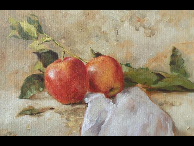 Still life. Два яблока. oil painting