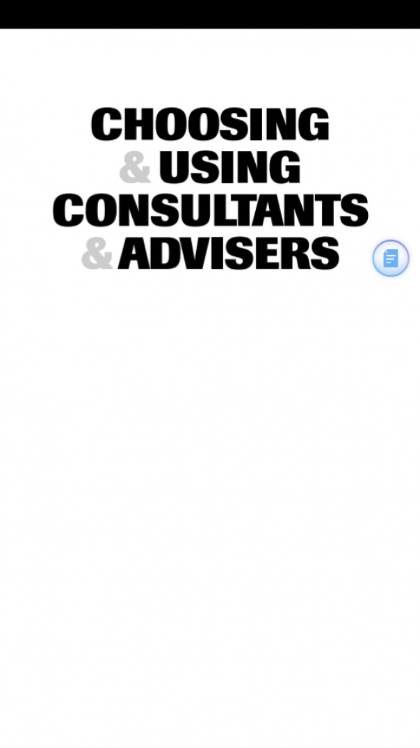 Choosing  Using Consultants  Advisers