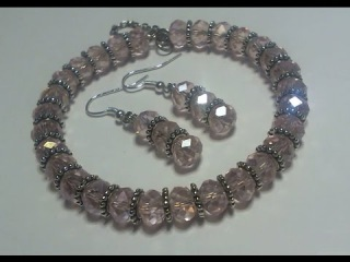How to make a Beautiful pink beaded memory wire Bracelet & Earring set