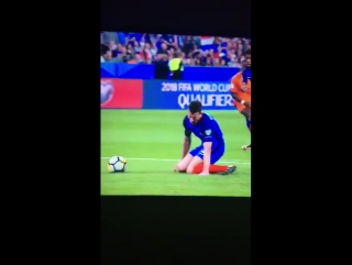 Laurent Koscielny goes down in pain as he falls awkwardly in France's World Cup qualifier vs. Holland tonight.