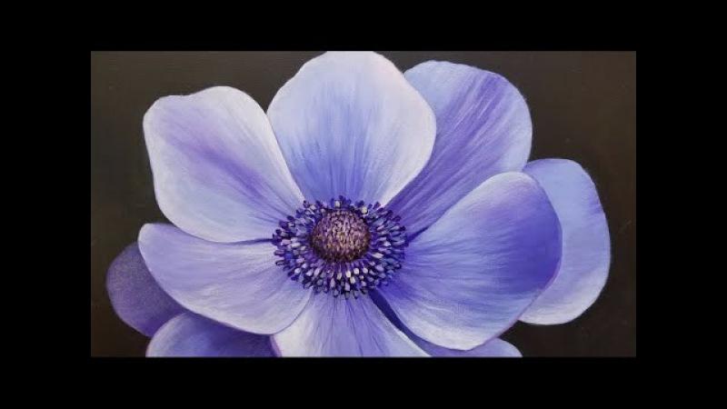 Blue Poppy LIVE Acrylic Painting Tutorial