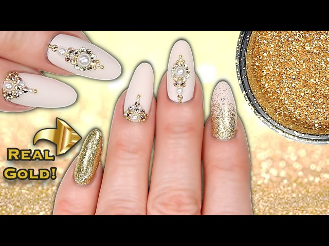 REAL 24CT GOLD NAILS LUXE MATTE NUDE GOLD GLITTER CRYSTAL PEARL NAIL ART