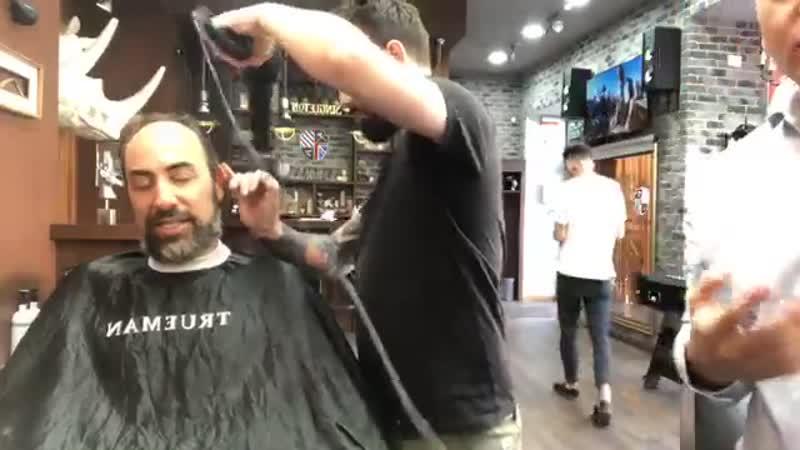 Minsk Bob Eckhart having his hair cut at Trueman Barbershop Part 1