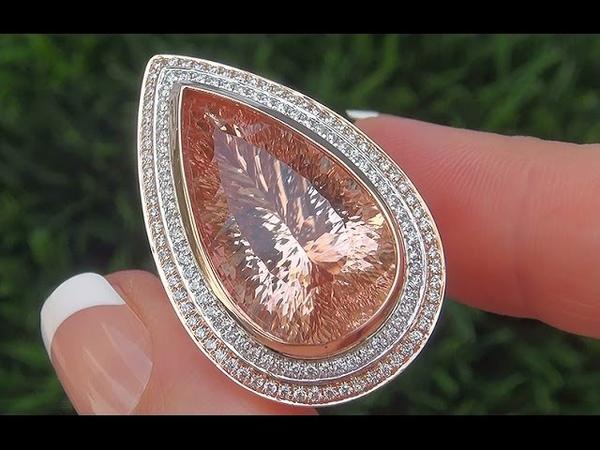 GIA Certified VVS1 Natural Pink Morganite Diamond 18k Rose White Gold Estate Ring - C484
