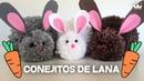 Cómo hacer peluches: Conejitos con pompones de lana / Bunnies made with wool pompoms