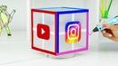РИСУЮ INSTAGRAM, TIK TOK, VK и YOUTUBE СВЕТИЛЬНИК 3D РУЧКОЙ DIY Тик Ток, Инстаграм