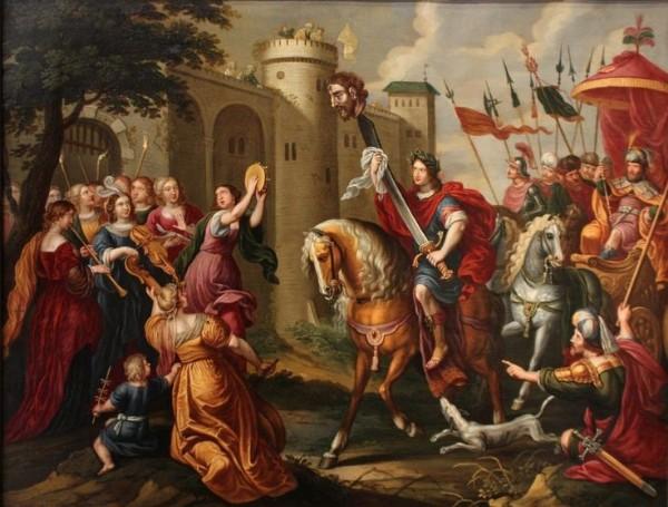 Триумф Давида - масло на меди 17-го века - приписывается Петру Сиону.
