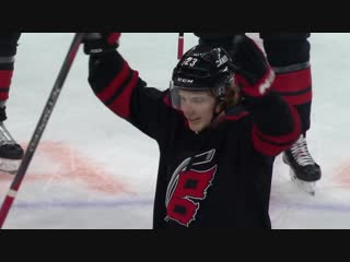 Brock mcginn channels his inner thor in the latest hurricanes celebratory strom surge