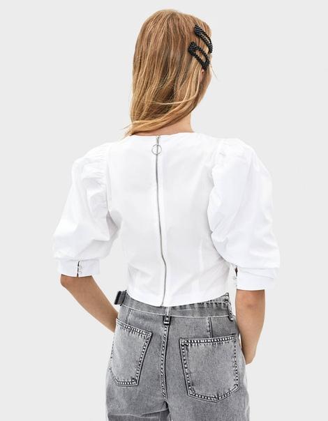 Блуза из поплина с объемными рукавами