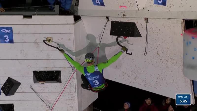 Финал Дмитрия Гребенникова Saas Fee Switzerland Lead Finals 2020 UIAA Ice Climbing World Cup