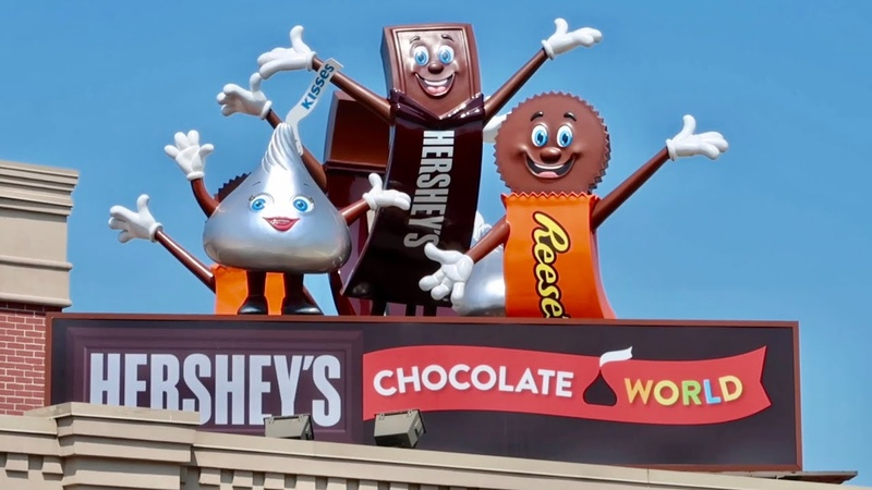 Hershey's Chocolate World Factory Ride Thru Talking Life Size Candy Bars Singing Cows