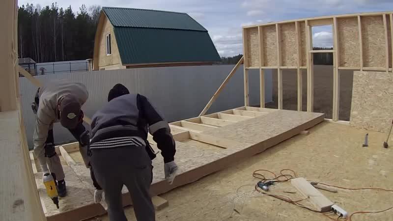 Сборка и подъём каркасных стен. Канадская технология. Каркасный дом 6х8. Екатери