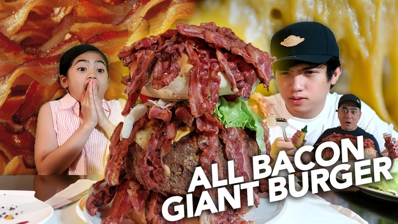 DIY ALL BACON GIANT BURGER FOR DAD Ranz and Niana