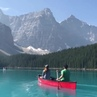 Canoeing at Moraine Lake in Banff National Park Canada