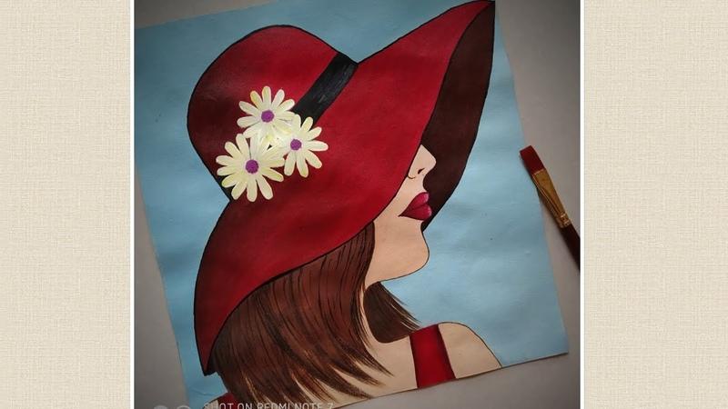 Lady in Red hat step by step Acrylic painting for beginners  Beautiful girl painting  Priyaartstudio