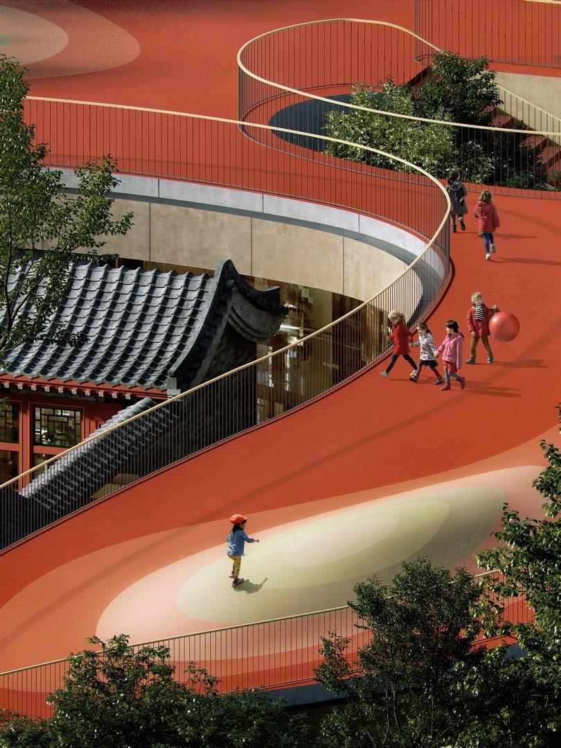 В Китае строят детский сад с «плавающей» крышей