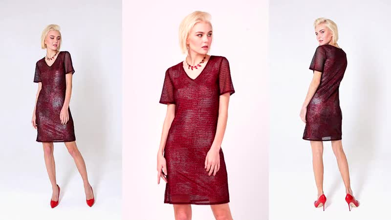 Платье 2в1: трикотажное платье майка и платье прямого силуэта с эффектом блеска