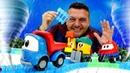 Leo el pequeño camión construye una nueva pista. Trenes infantiles. Videos de juguetes.