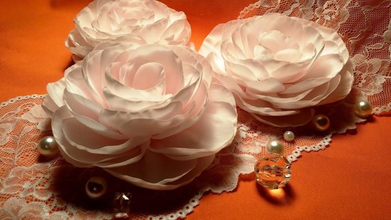 Fabric flowers big corsage rose tutorial Цветы из ткани большая корсажная роза МК