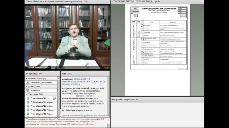 2011 11 12 Бронников В М - Что такое Метод Суть Метода WEBRip RUS