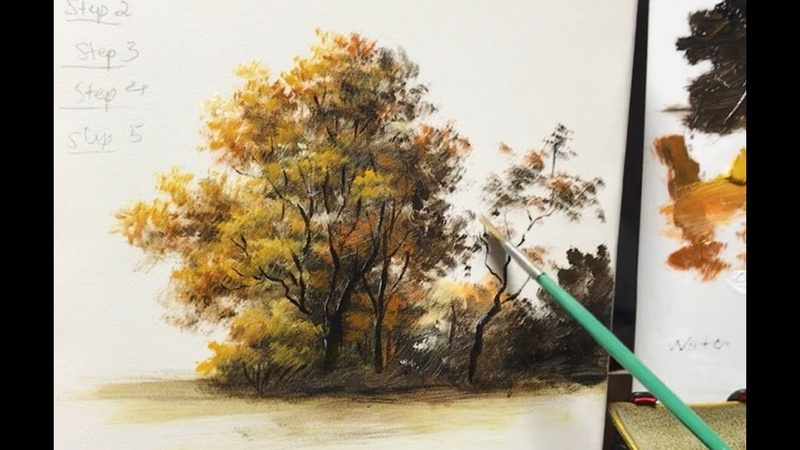 How To Paint An Autumn Tree with Fan Brush